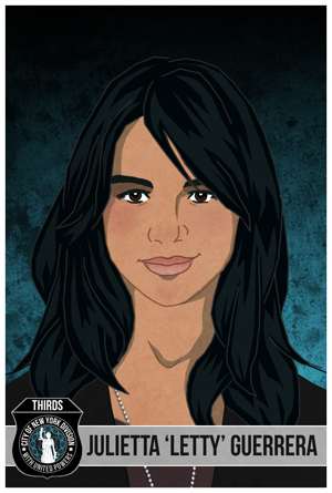 illustration of a young woman with black, dark eyes, a dark jacket and gray shirt with dog tag chain. Bottom left graphics of police shield with image of justice statue, white lettering saying THIRDS, City of New York Division